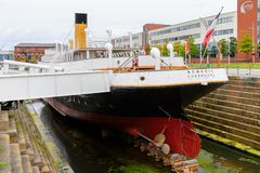 Nomadic (1911), a steamship of the White Star Line. BELFAST, NI - JULY 16, 2016: Back view of the SS Nomadic (1911), a steamship of the White Star Line. It was a royalty free stock photography