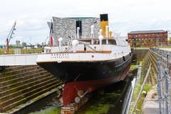 Nomadic (1911), a steamship of the White Star Line. BELFAST, NI - JULY 16, 2016: Back view of the SS Nomadic (1911), a steamship of the White Star Line. It was a stock image