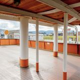 Nomadic (1911), a steamship of the White Star Line. BELFAST, NI - JULY 16, 2016: Deck of the SS Nomadic (1911), a steamship of the White Star Line. It was a stock images