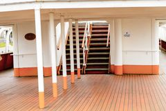 Nomadic (1911), a steamship of the White Star Line. BELFAST, NI - JULY 16, 2016: Deck of the SS Nomadic (1911), a steamship of the White Star Line. It was a stock photo