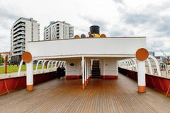 Nomadic (1911), a steamship of the White Star Line. BELFAST, NI - JULY 16, 2016: Deck of the SS Nomadic (1911), a steamship of the White Star Line. It was a royalty free stock image