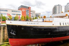 Nomadic (1911), a steamship of the White Star Line. BELFAST, NI - JULY 16, 2016: SS Nomadic (1911), a steamship of the White Star Line. It was a tender to RMS stock images