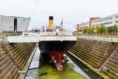 Nomadic (1911), a steamship of the White Star Line. BELFAST, NI - JULY 16, 2016: SS Nomadic (1911), a steamship of the White Star Line. It was a tender to RMS stock photo