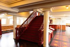 Nomadic (1911), a steamship of the White Star Line. BELFAST, NI - JULY 16, 2016: Stairs at the SS Nomadic (1911), a steamship of the White Star Line. It was a royalty free stock photo