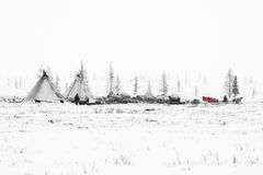 Nomadic tribe prepares to season migration in the polar tundra at a frosty day. Chum, sled and other stuff are located around camp stock photography