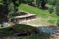 Nomadic village in Sonamarg in Kashmir, India. Nomadic village in Sonamarg in Kashmir in India, Asia stock photo