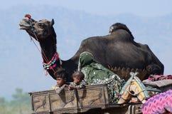 Nomadische stammenfamilie die van de woestijn van Thar aan traditionele kameel eerlijke vakantie in Pushkar, India voorbereidinge Royalty-vrije Stock Afbeeldingen