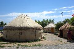 Nomadische yurts tijdens zomer royalty-vrije stock afbeelding