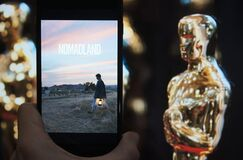 Free Nomadland Movie Best Picture Oscar Nomination. Hollywood Golden Oscar Academy THE 93RD ACADEMY AWARDS. Moscow 25 April Royalty Free Stock Images - 216964209