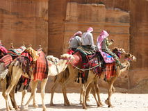Nomads caravan in Petra. Caravan of nomadic people making their way in the desert Royalty Free Stock Image