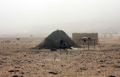 Nomads of the desert. Typical hut of the nomadic tribes of peul - mali Royalty Free Stock Photo
