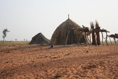Nomads of the desert. Typical hut of the nomadic tribes of peul - mali Royalty Free Stock Photography