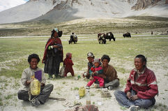 Nomads in Ladakh, India. Till date the people of Ladakh are semi Nomads and take their Yak, sheep and goats to the high altitude pastures behind the mighty Royalty Free Stock Photos