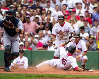 Nomar slides home safe. Royalty Free Stock Images