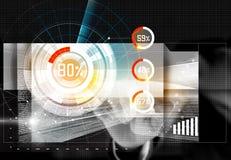 Nombre émouvant d'homme d'affaires sur l'interface d'avenir d'écran Photo stock