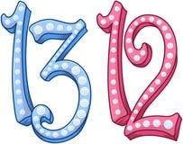 Nombre brillant bleu rose 12 13 pour le Mitzvah de batte de barre Photographie stock libre de droits