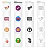 Nombre, cirque, divertissement et toute autre icône de Web dans le style différent animal, boule, icônes d'éléphant dans la colle illustration stock