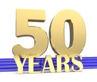Nombre d'or cinquante et les années d'inscription sur les escaliers bleus avec le noeud sans fin de symboles d'or illustration 3D illustration de vecteur