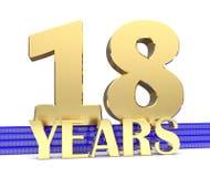 Nombre d'or dix-huit et les années d'inscription sur les escaliers bleus avec le noeud sans fin de symboles d'or illustration 3D Photographie stock