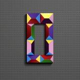 nombre 3d géométrique coloré zéro des briques de bâtiment nombre 3d réaliste zéro nombre de puzze nombres isométriques 3d illustration stock