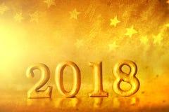 Nombre d'or 2018 placé sur le CCB élégant de ton d'étoile de charme d'or photo libre de droits