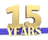 Nombre d'or quinze et les années d'inscription sur les escaliers bleus avec le noeud sans fin de symboles d'or illustration 3D Image libre de droits