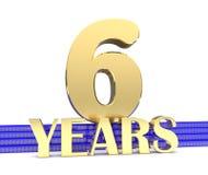 Nombre d'or six et les années d'inscription sur les escaliers bleus avec le noeud sans fin de symboles d'or illustration 3D illustration de vecteur