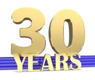 Nombre d'or trente et les années d'inscription sur les escaliers bleus avec le noeud sans fin de symboles d'or illustration 3D illustration de vecteur