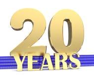 Nombre d'or vingt et les années d'inscription sur les escaliers bleus avec le noeud sans fin de symboles d'or illustration 3D Photos libres de droits