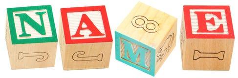 NOMBRE de bloques del alfabeto fotos de archivo libres de regalías