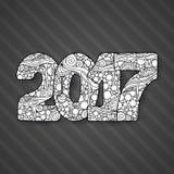 Nombre 2017 de célébration de bonne année Illustration de Noël de vecteur dans le zentangle Image stock