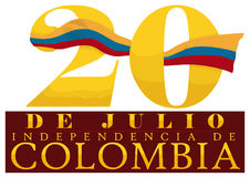 Nombre de date avec le drapeau colombien et signe pour le Jour de la Déclaration d'Indépendance, illustration de vecteur Image libre de droits