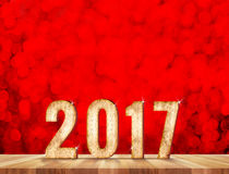 Nombre de la bonne année 2017 dans la chambre de perspective avec le sparklin rouge Photographie stock