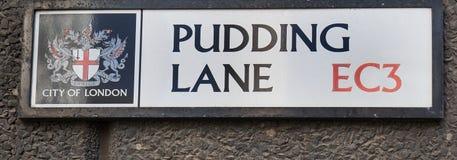 Nombre de la calle del carril del pudín, donde el gran fuego de Londres comenzó en 1666, Londres 2017 Imágenes de archivo libres de regalías