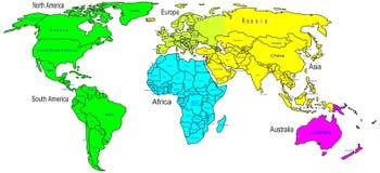 Nombre de los continentes y de país del mapa de color del mundo Foto de archivo libre de regalías