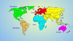 Nombre de los continentes y de país del mapa de color del mundo Imagen de archivo