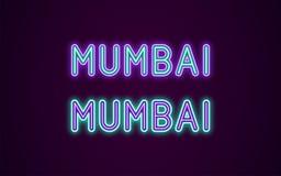 Nombre de neón de la ciudad de Bombay en la India libre illustration