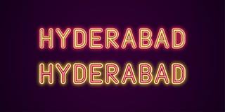 Nombre de neón de la ciudad de Hyderabad en la India libre illustration