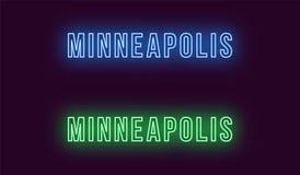 Nombre de neón de la ciudad de Minneapolis en los E.E.U.U. Texto del vector stock de ilustración