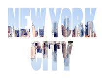 Nombre de New York City - muestra de destino del viaje de los E.E.U.U. en el backgr blanco Foto de archivo libre de regalías