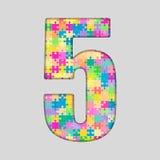 Nombre de puzzle de couleur - 5 cinq Gigsaw, morceau Images libres de droits