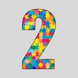Nombre de puzzle de couleur - 2 deux Gigsaw, morceau Photographie stock