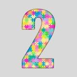 Nombre de puzzle de couleur - 2 deux Gigsaw, morceau Image stock
