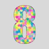 Nombre de puzzle de couleur - 8 huit Gigsaw, morceau Images stock
