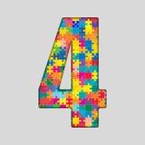 Nombre de puzzle de couleur - 4 quatre Gigsaw, morceau Images stock
