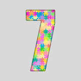 Nombre de puzzle de couleur - 7 sept Gigsaw, morceau Photos stock