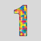 Nombre de puzzle de couleur - 1 un Gigsaw, morceau Photographie stock