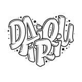 Nombre del cóctel, poniendo letras en el corazón - daiquirí Ejemplo dibujado mano en estilo de la burbuja Plantilla para el carte Imagen de archivo libre de regalías