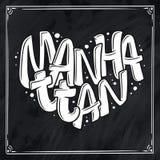 Nombre del cóctel, poniendo letras en el corazón - Manhattan Ejemplo dibujado mano en estilo de la burbuja Plantilla para el cart Fotos de archivo libres de regalías