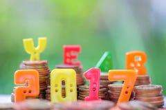nombre des 2017 textes avec des pièces de monnaie Images libres de droits